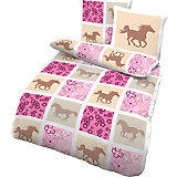 Kinderbettwäsche Pferde, Renforcé, rosa, 135 x 200 cm