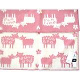 "Одеяло-плед из эко-шерсти ""Овечки"" 65х90, Klippan, розовый/белый"