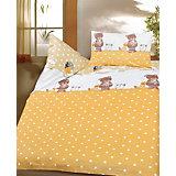 Kinderbettwäsche Bärchen, Cretonne, gelb, 100 x 135 cm