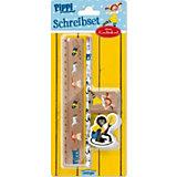Pippi Langstrumpf: Schreibset (Lineal, Bleistift, Radiergummi, Anspitzer)