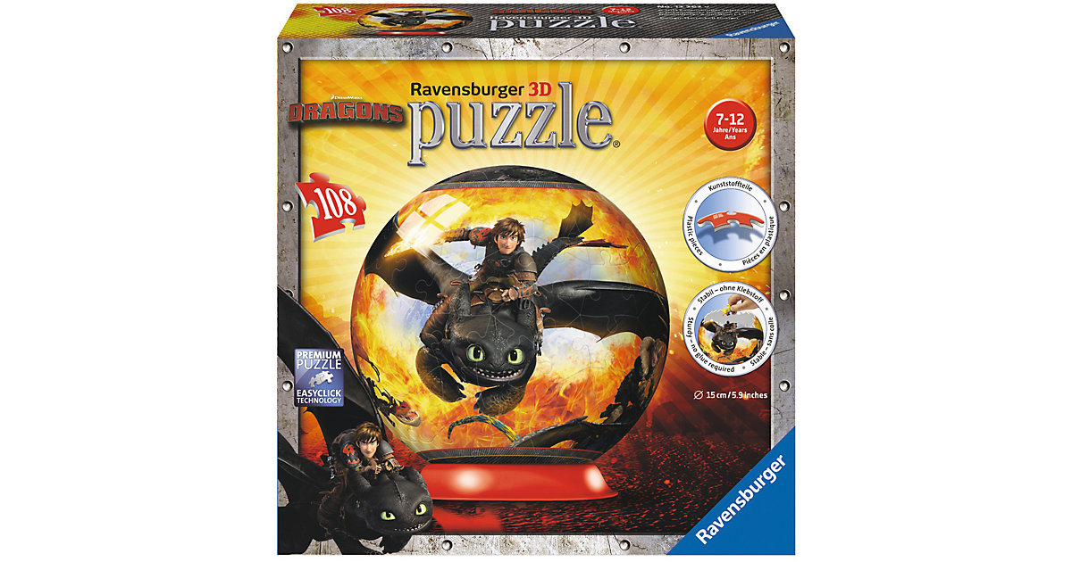 108 T. 3D Puzzle-Ball Dragons Drachenzähmen lei...