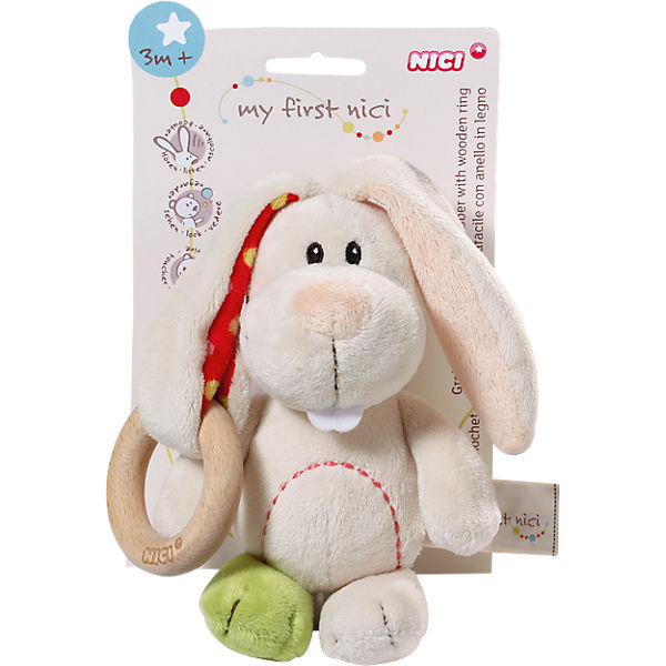 My First NICI 37879 Greifling Hase Tilli mit Holzring