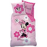 Kinderbettwäsche Minnie Mouse Pink Flowers, Biber, 135 x 200 cm