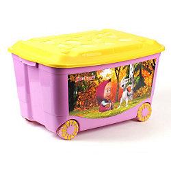 """Ящик для игрушек на колесах """"Маша и Медведь"""", сиреневый"""