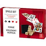 Spieleset - Rommé, Kreuzwortwürfeln (mit extra großen Spielkarten)