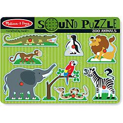 "Рамка-вкладыш со звуком ""Зоопарк"", 8 деталей, Melissa & Doug"