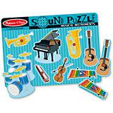 """Рамка-вкладыш со звуком """"Музыкальные инструменты"""", 8 деталей, Melissa & Doug"""