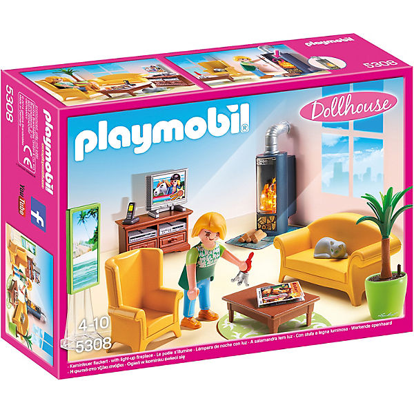 playmobil 5308 wohnzimmer mit kaminofen playmobil dollhouse mytoys. Black Bedroom Furniture Sets. Home Design Ideas