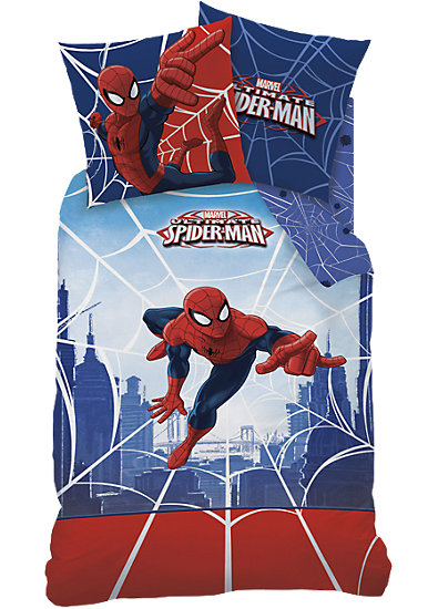 kinderbettw sche spiderman linon 135 x 200 cm cti mytoys. Black Bedroom Furniture Sets. Home Design Ideas
