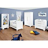 Sparset STAR  (Kinderbett, Wickelkommode breit), weiß/hochglanz