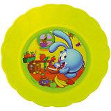 Глубокая тарелка (желтая, диаметр 18 см), Смешарики