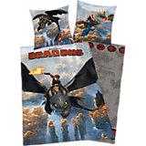 Wende- Kinderbettwäsche Dragons, Renforcé, 135 x 200 cm