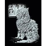 Scraper Silber-Kratzbild Katze am Piano