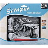 Scraper Silber-Kratzbild Wolf