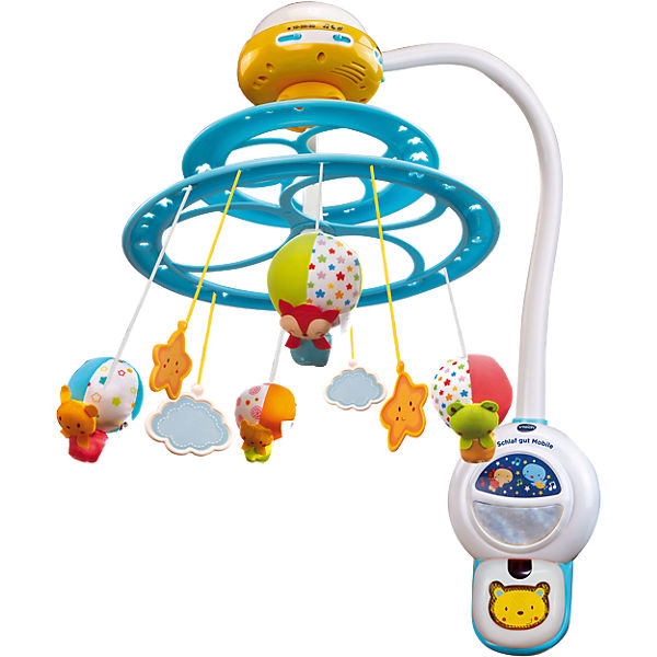 Delight your baby with the VTech Dream and Play Light-Up Mobile. It comes with three modes of play. It includes nursery rhymes to keep them entertained, lullabies to help them sleep and nature sounds for relaxing. The VTech baby mobile is adorned with fascinating creatures hanging in the air above their heads, making it magical for them to watch.