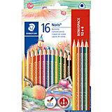 Набор цветных карандашей Noris Club трехгранные, 12 цветов, 16 шт.
