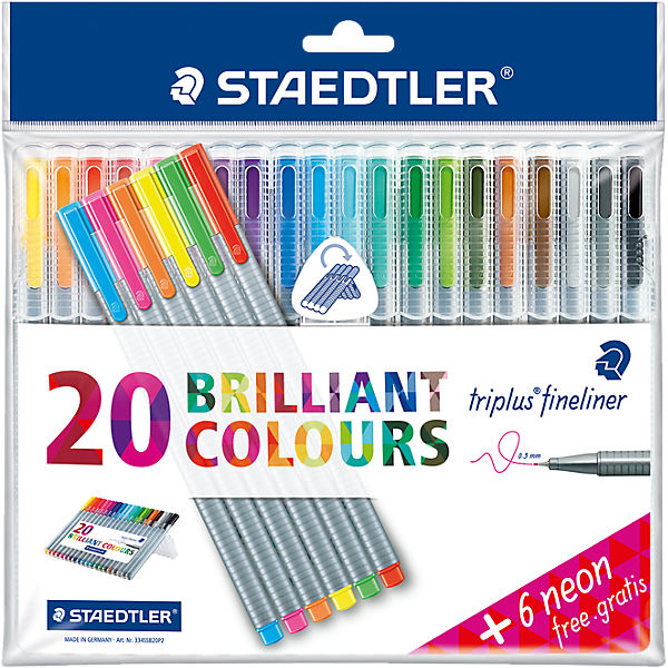 Fineliner triplus color DRY SAFE, 20 Farben & 6 Neon-Farben EXTRA