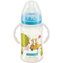 Бутылочка для кормления с ручками, 240 мл, Happy Baby, голубой