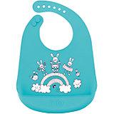 Нагрудник силиконовый мягкий Bib Pocket, Happy Baby, голубой