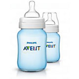 Weithals Flasche, SCF565/27, PP, Silikonsauger, 260 ml, blau, 2er Pack
