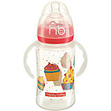 Бутылочка для кормления с ручками, 240 мл, Happy Baby, красный