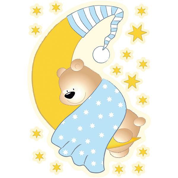 Mond Sterne Kleid: Wandsticker Bärchen, Mond Und Sterne, Blau,