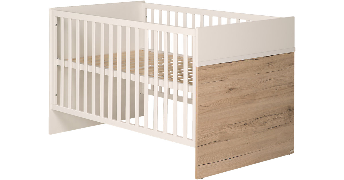 Kinderbett PEPE, Weiß/San Remo, 70 x 140 cm braun