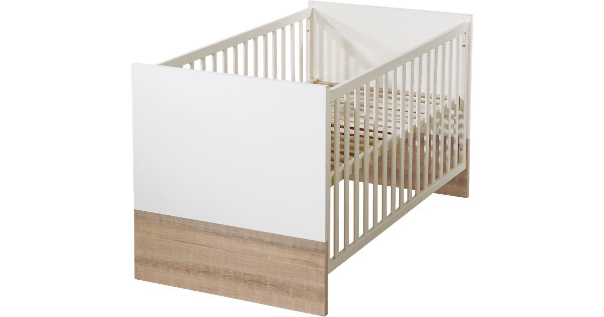 Kinderbett MAXIMA, Eiche/sägerau, 70 x 140 cm weiß