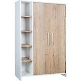 Kleiderschrank Eco Plus 2-trg. mit Seitenregal, weiß/Halifax Eiche