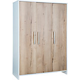 Kleiderschrank Eco Plus 3-trg., weiß/Halifax Eiche