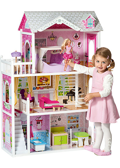 mytoys gro es puppenhaus inkl m bel f r 29cm puppen. Black Bedroom Furniture Sets. Home Design Ideas