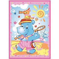 Одеяло байковое Бегемот и Попугай, 100х140, Baby Nice, розовый