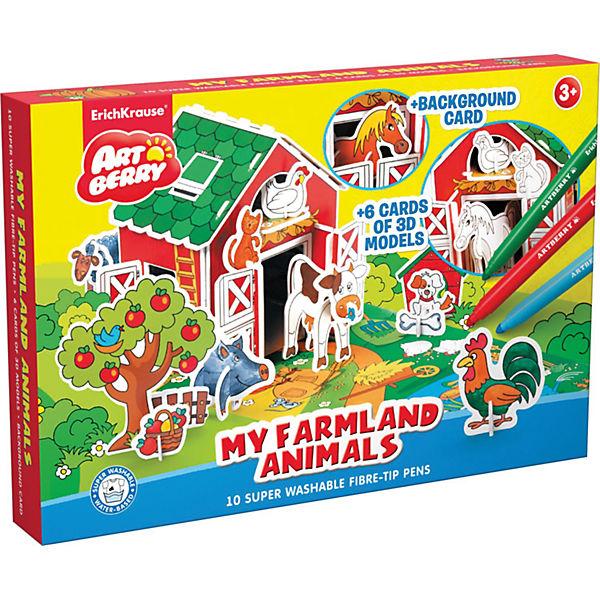 """3D Раскраска """"Животные в деревне"""", Artberry"""