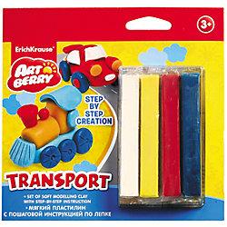 Пластилин мягкий 4цв+инструкция Transport Step-by-step Сreation Artberry