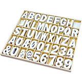 Holzbuchstaben und -Zahlen, 225 Stück