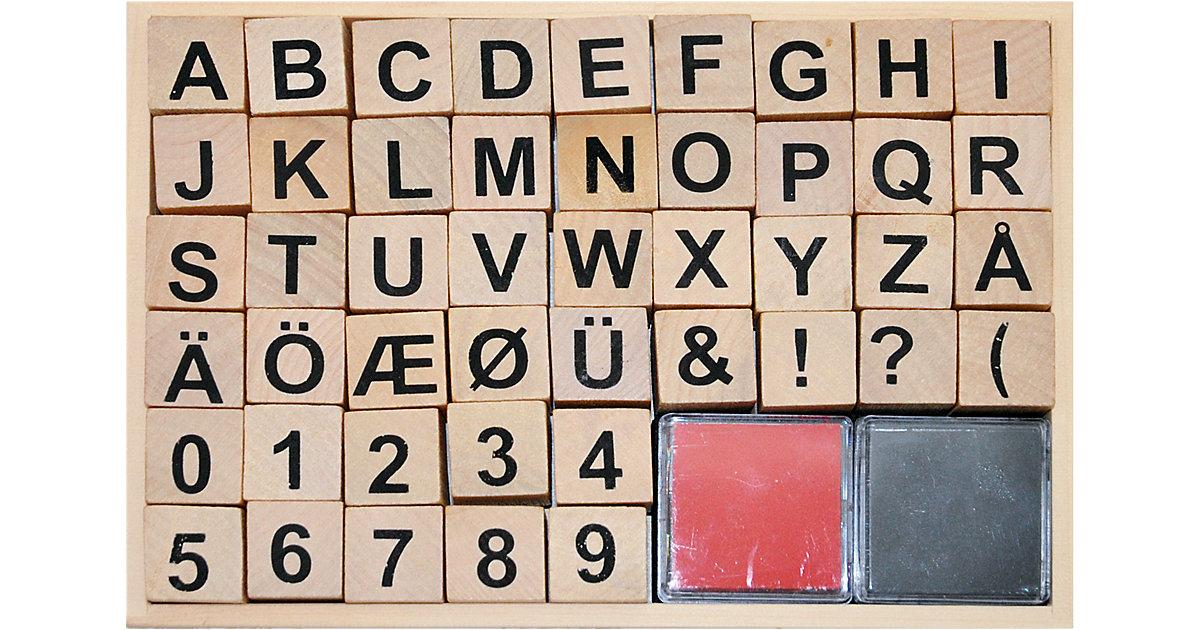 Holzstempelset ABC, 46 Stück