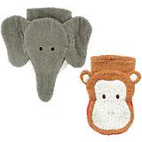 Waschhandschuhe Elefant + Affe, 2er Set