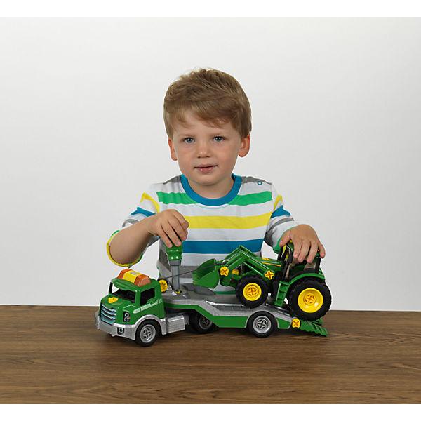 Klein transporter mit john deere traktor mytoys