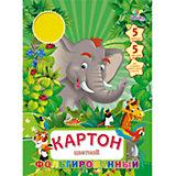 """Фольгированный цветной картон """"Джунгли. Слон"""" (5 цветов, 5 листов)"""