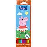 """Толстые цветные карандаши """"Свинка Пеппа"""" 6 цветов"""