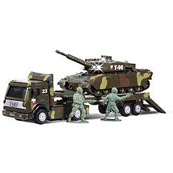 Военный трейлер с инерционным танком на прицепе, со светом и звуком, ТЕХНОПАРК