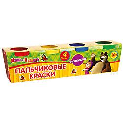 Набор пальчиковых красок, 4 цвета, Маша и Медведь