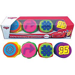 Набор пальчиковых красок с печатями, 4 цвета, Тачки