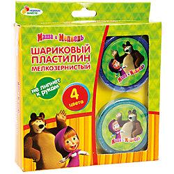 Застывающий шариковый пластилин, 4 цвета, Маша и Медведь