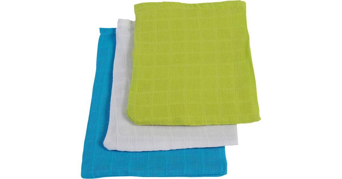 Waschlappen, Mull, lime/ aqua/weiß, 15 x 21 cm, 6er Pack grün