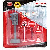 Игровой набор со светофором, 5 предметов, со светом и звуком, ТЕХНОПАРК