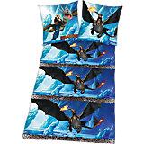 Wende- Kinderbettwäsche, Dragons, Flanell, 135 x 200 cm