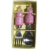 """Розовый набор столовых приборов """"Мишки"""" (2 предмета)"""