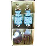 """Голубой набор столовых приборов """"Мишки"""" (2 предмета)"""