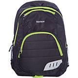 Спортивный рюкзак, черный с зеленым кантом